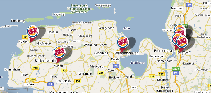Burger King Landkarte